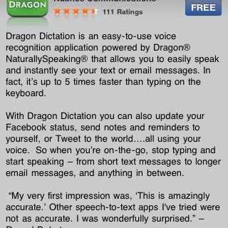 Dragon Dictation Free for the iPhone